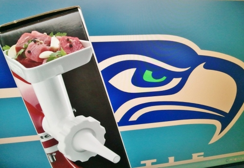 Nothing says #GoHawks quite like a Kitchen Aid sausage stuffer.